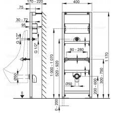 Монтажная рама для писсуара и сенсорного устройства AlcaPlast A107S/1200