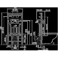 Монтажная рама с бачком для видуара и смесителя, со стоковым коленом AlcaPlast A108F/1100