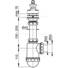 Сифон для мойки AlcaPlast A441-DN50/40