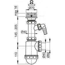Сифон для мойки AlcaPlast A441P-DN50/40