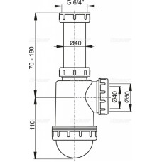 Сифон для мойки AlcaPlast A443-DN50/40