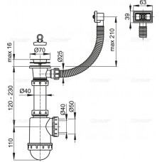 Сифон для мойки AlcaPlast A444-DN50/40