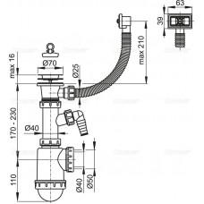 Сифон для мойки AlcaPlast A444P-DN50/40