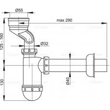 Cифон для писсуара с манжетой AlcaPlast A45A