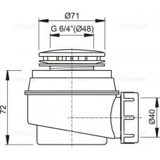 Сифон для душевого поддонa Alcaplast A47B-50 белый