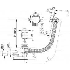 Сифон для ванны AlcaPlast A564KM3-100