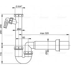 Сифон для мойки AlcaPlast A81-DN50