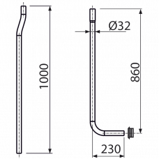 Водосливная труба 32 мм, состоящая из двух частей + прокладка гофрированная AlcaPlast A95