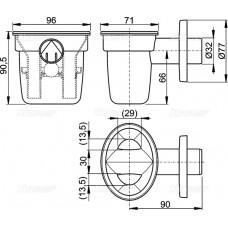Воронка с шариком для сбрасываемого конденсата с держателем для трубок AlcaPlast AKS1Z