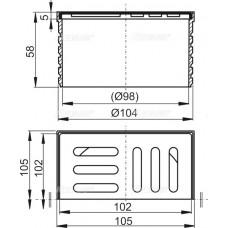 Горловина сливного трапа, решетка 105 ? 105 нержавеющая сталь для APV26, APV26C AlcaPlast APV0900