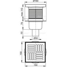 Сливной трап AlcaPlast APV6411 150 x 150/50