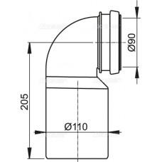 Колено стока, комплект 90/110 AlcaPlast M906