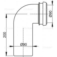 Колено стока, комплект 90/90 AlcaPlast M908