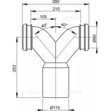 Двойное колено 90° с защитными затворами AlcaPlast M909