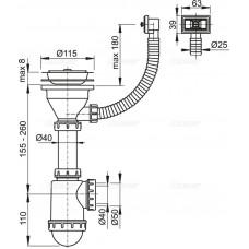 Сифон для мойки AlcaPlast A447-DN50/40