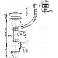 Сифон для мойки AlcaPlast A447P-DN50/40