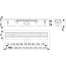 Водоотводящий желоб Antivandal с решеткой, арт. APZ11-1050L