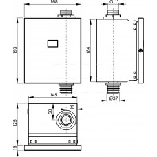 Автоматическая система туалетного смыва, 12V (работает от сети) металл, арт. ASP3-K