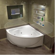 Акриловая ванна BAS ИМПЕРИАЛ 1500х1500 с гидромассажным оборудованием FLAT  ВГ00071(ванна + каркас + слив-перелив)