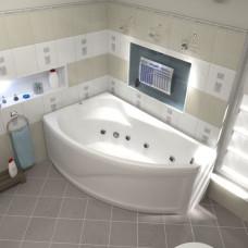 Ванна BAS НИКОЛЬ левосторонняя 1700х1020 с гидромассажем FLAT ВГ00168(ванна + каркас + слив-перелив)