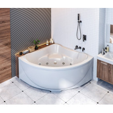 Акриловая ванна BAS МОДЕНА 1500х1500 с гидромассажным оборудованием FLAT ВГ00157 (ванна + каркас + слив-перелив)