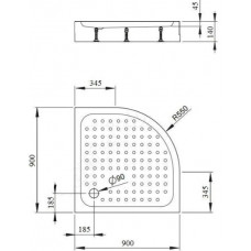 Акриловый поддон Bravat Type-R1 900x900x140 P29