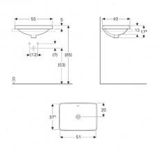 Geberit VariForm Раковина встраиваемая в  столешницу прямоугольной формы, 55х40 см,  , с отв. перелива/500.736.01.2