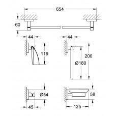 Набор аксессуаров GROHE Essentials (5 предметов), хром (40344001)