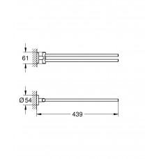 Двойной держатель для полотенца GROHE Essentials, тёмный графит глянец (40371A01)
