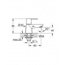 Вентиль для раковины GROHE BauEdge, без функции смесителя, хром (20421000)