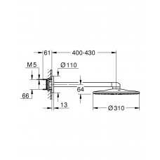Верхний душ GROHE Rainshower 310 SmartActive с душевым кронштейном 430 мм, 2 режима струи, хром (26475000)