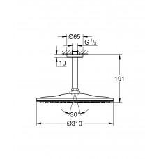 Верхний душ GROHE Rainshower 310 Mono с душевым кронштейном, хром (26559000)