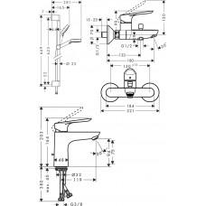 ДУШЕВОЙ КОМПЛЕКТ HANSGROHE SET LOGIS E 100 C (SETLOGISE100C)