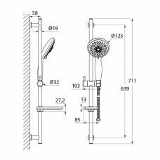 TSH0601 Душ.гарнитур(стойка 710мм,лейка 5F D125мм,шланг нерж.сталь 1,5м)