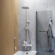 Смеситель для ванны с верхним душем, белый матовый, Shelfy, IDDIS, SHEWTBTi06