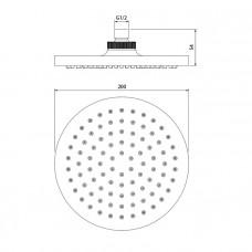 Душевая насадка верхняя круглая 200, IDDIS, 00120RPi64