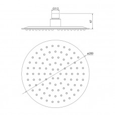 Верхняя лейка круглая 200мм, IDDIS, 00320RSi64 ,металл