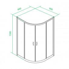 Дверки двойные раздвижные ,для высокого поддона , TF90MH 900*900*1500