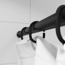 Набор колец  для шторы в ванную комнату, цвет черный, IDDIS, RID013P