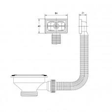 Выпуск 3 1/2 с переливом для кухонной мойки, 011, IDDIS, 011UPS0i84