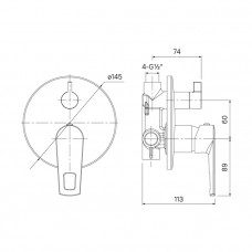 Встраиваемый смеситель с дивертором и двумя выходами, Runo, IDDIS, RUNSB00i67