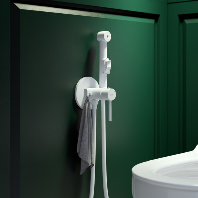 Встраиваемый смеситель с гигиеническим душем ,003WTR0i08,IDDIS AXES , белый матовый