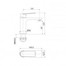 Смеситель для умывальника в ванную, IDDIS PLANK, PLASB00i01