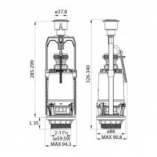 Арматура смывная, 1-ур, боковой подвод, тип А, IDDIS, F012400-0005