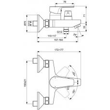 BC494U8 смеситель для ванны/душа IDEAL STANDART  CERAFINE D настенный (серый жемчуг/хром)