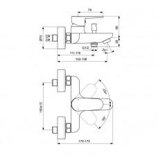 Смеситель Ideal Standard Cerafine O BC500U4 для ванны с душем, черный