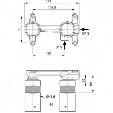 Смеситель встраиваемый Ideal Standard BUILT-IN A1313NU (встраиваемый комплект для настенного смесителя для умывальника)