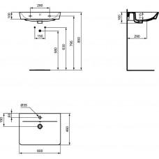 Раковина Ideal Standard CONNECT AIR E0298V3 60 см, черный матовый
