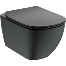 T0079V3 TESI AquaBlade® Подвесной унитаз, глубокий смыв, цвет:Silk Black+крышка T3529V3 с функцией плавного закрытия