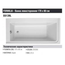 Акриловая ванна JACOB DELAFON Formilia E6139L-00 левая, 170x80